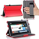 MoKo Google Nexus 7 Case - Slim-Fit Multi-angle Folio Cover Case for Google Nexus 7 Android Tablet by ASUS, RED (with Smart Cover Auto Wake/Sleep Feature)