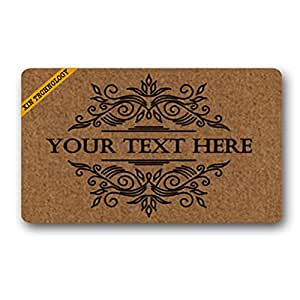 "Artsbaba Doormat Personalized Your Text Door Mat Classic Single Border Doormats Monogram Non-Slip Doormat Non-woven Fabric Floor Mat Indoor Entrance Rug Decor Mat 30"" x 18"""