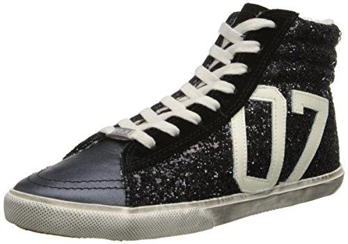 KIM&ZOZI Women's Glitter Hi Fashion Sneaker, Black, 7 M US