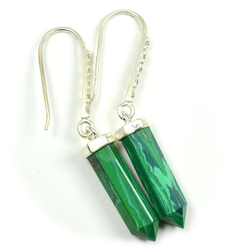 CaratYogi Women's Natural Classy Green Malachite Earring 925 Sterling Silver CYEMSR-186