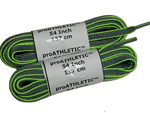 Greatlaces Chaux Chaud Néon Vert W / Gris Ovale Style Proathletic (tm) Lacets Dentraîneur - (pack De 2 Paires)