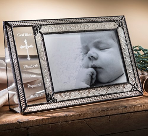 Glasses 393 (J Devlin Pic 393-46H EP590 Personalized Baptism Picture Frame Engraved Glass Photo Frame 4x6 Horizontal Christening Keepsake Gift)