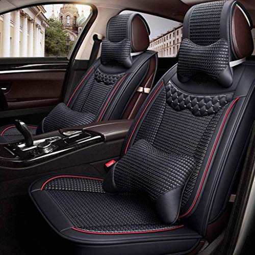 HYLH Car Seat Covers Set Leather, Universal 5 Seats Seat Cushions for the front seats and rear seat Seats Seat cover with cushions (Color : Black): Kitchen & Home