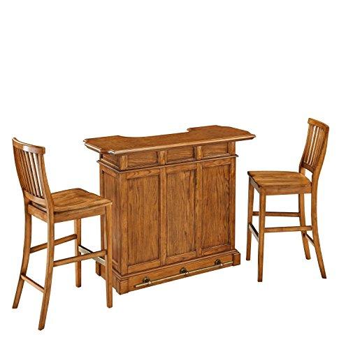 Home Styles Model  5004-998  and Two Stools Oak Finish Americana Bar - Bar Stool Americana