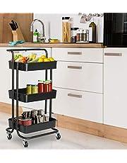 Hyfive Wózek do przechowywania na kółkach, Kosze kuchenne, 3 poziomy, z kółkami, Łazienka Wózek do przechowywania, Wózek