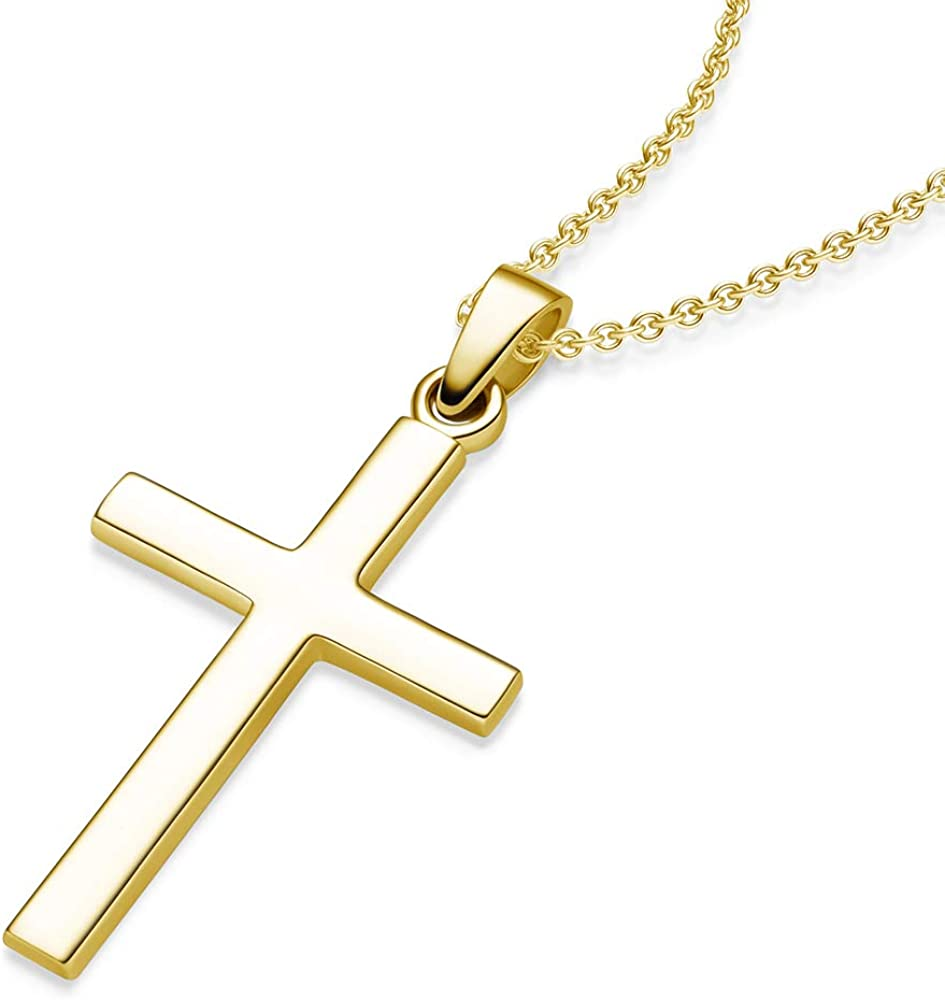 Kreuz Anhänger in 925er Silber mit Zirkonia vergoldet Silver gold-plated cross