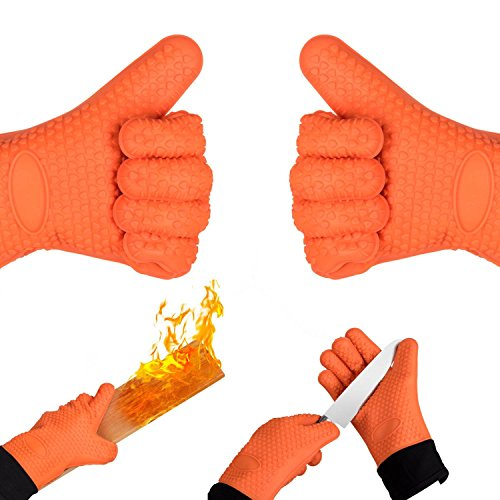 Homily Oven Mitts, Heat Resistant Gloves Wrist Protection Quilted Cotton Lining, Non-slip Kitchen Gloves for Cooking, Baking, BBQ Grilling by Homily