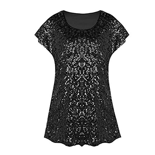 Byyong Sequin Top for Women Shimmer Glitter Loose Bat Sleeve Party Tunic Tops ()