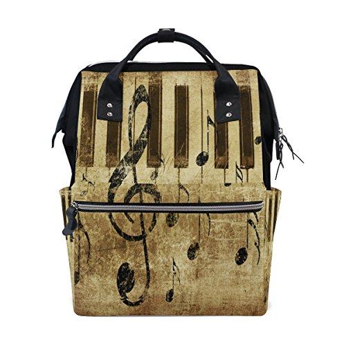 WOZO Vintage Music Note Piano Keyboard Multi-function Diaper Bags Backpack Travel Bag ()