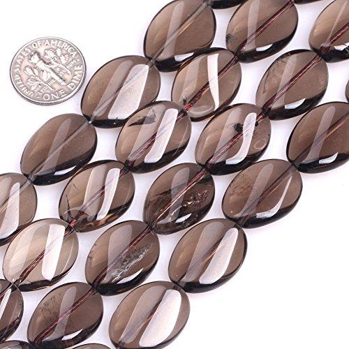 GEM-inside Smoky Quartz Gemstone Loose Beads 15x20mm Oval Twist Energy Stone Power for Jewelry Making 15