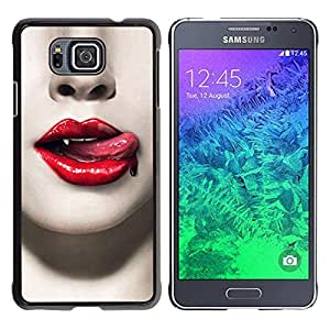 Be Good Phone Accessory // Dura Cáscara cubierta Protectora Caso Carcasa Funda de Protección para Samsung GALAXY ALPHA G850 // Red Lips Blood Vampire Teeth Sexy