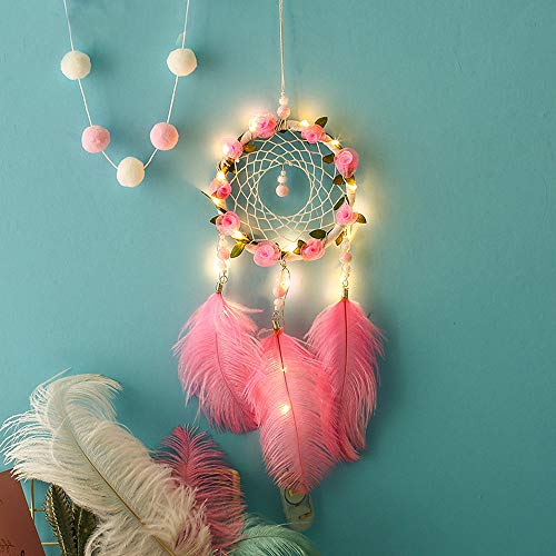 - Gotian LED Handmade Bohemian Dream Catcher, Wall Car Home Art Hanging Dreamcatcher with Feathers and Beads, Traditional Crochet Design Decoration Ornament Craft Gift (A)