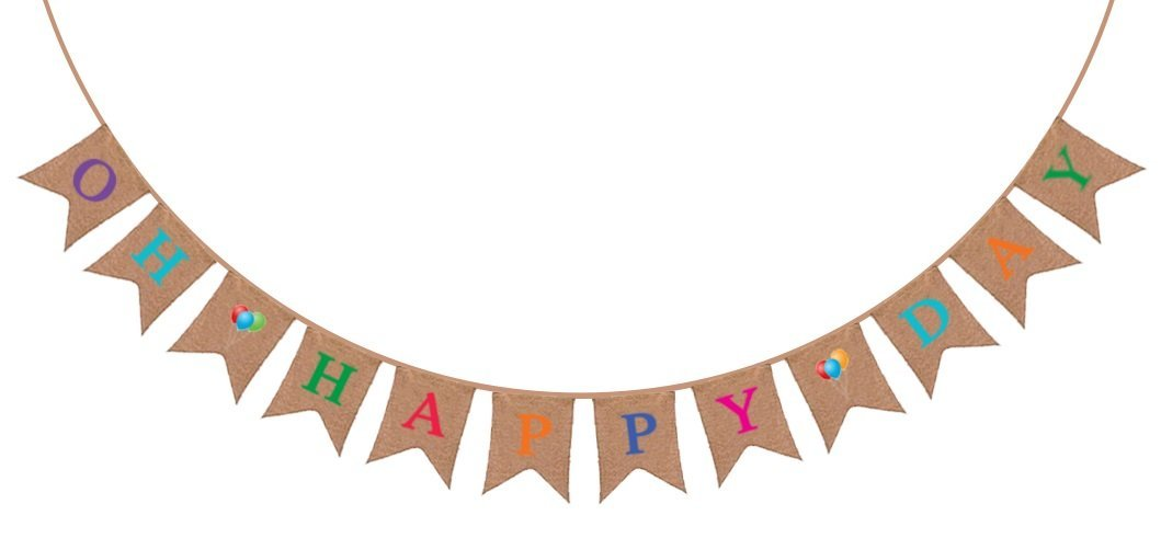 Well Wreapped Oh Happy Day Burlap Banner