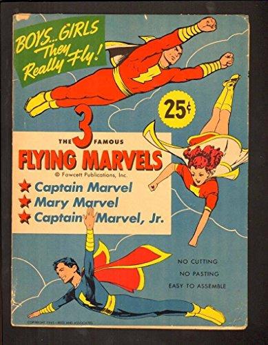 3 FAMOUS FLYING MARVELS 5.5 FINE- 1945 FAWCETT CAPTAIN MARVEL MARY JR CUT-OUT