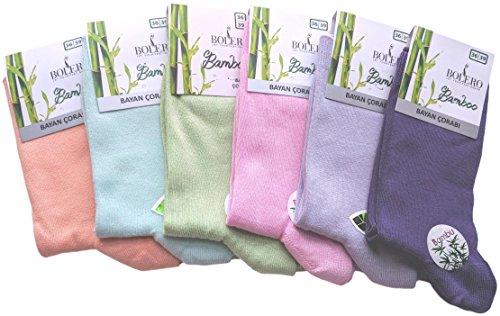 6 Pairs Bolero Bamboo Casual Crew Socks (Pastel Blue, Orange, Green, Pink, Lilac, Violet)
