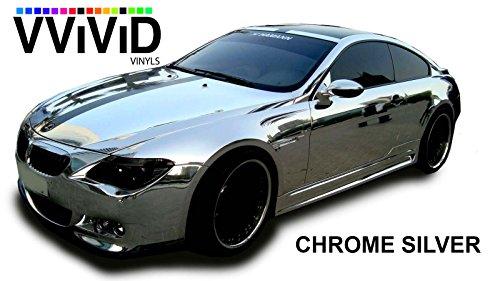 VViViD Gloss Chrome Silver Vinyl Wrap Adhesive Film Roll Air Release DIY Decal Sheet 17.9 x 60