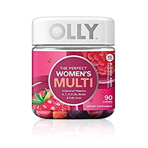 OLLY Perfect Women's Multivitamin Gummy Supplement, with Biotin & Folic Acid, Blissful Berry