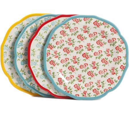 The Pioneer Woman Timeless Floral Mix and Match 8.5'' Salad Plate Set, Set of 4