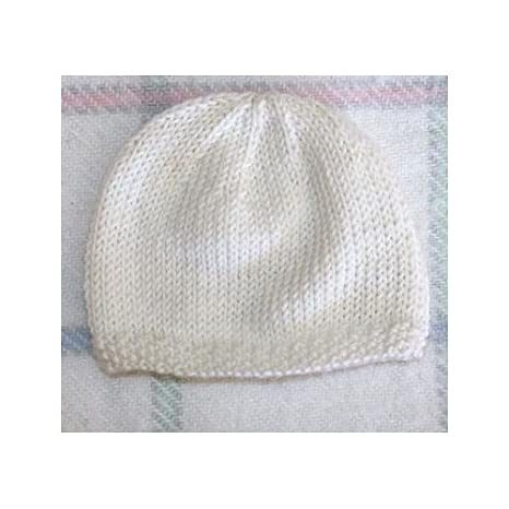 b6a6edda9de Bonnet de Naissance pour Bébé en Laine Deluxe   Fait Main - Blanc   1 Mois