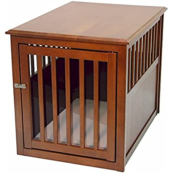crown pet products pet crate wood dog crate furniture end table medium size with mahogany - Wooden Dog Crate End Tables