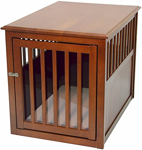 Crown Pet Products Pet Crate Wood Dog Crate Furniture End Table, Medium Size with Mahogany Finish