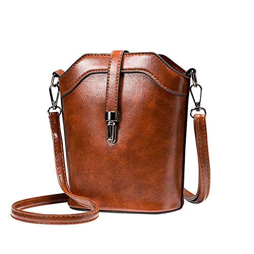 (seOSTO Small Bucket Bag, Cell Phone Purse Wallet Leather Crossbody Bag For Women)