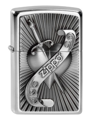 Zippo Chrome Sword - Zippo Unisex Adult Heart Sword Emblem Windproof Pocket Lighter - Chrome