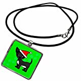 3dRose Janna Salak Designs Dogs - Cute Black Chihuahua Green with Santa Hat - Necklace With Rectangle Pendant (ncl_12082_1)