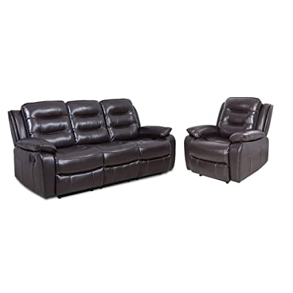 Amazon.com: YOUTHUP Chocolate Brown Leather Recliner Loveseat Sofa ...