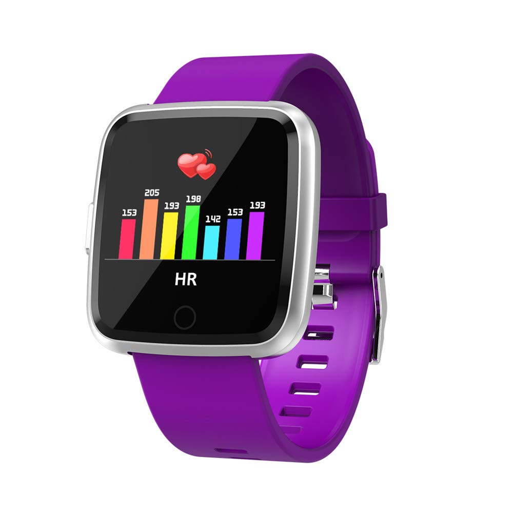 Heart Rate Smart Watch,MeiLiio Waterproof Bluetooth Wristband with Blood Pressure,Blood Oxygen,Sleep Monitor,Pedometer, Calorie Counter Smart Bracelet for Running Gym Workout,Silicone Strap-Purple