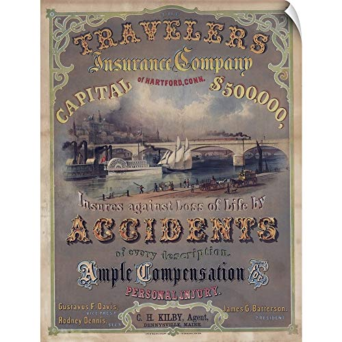 """CANVAS ON DEMAND Wall Peel Wall Art Print Entitled Travelers Insurance Company - Vintage Poster 12""""x16"""""""