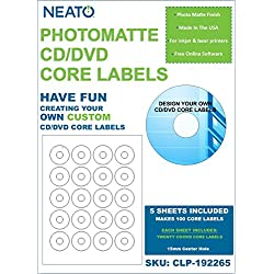 PhotoMatte CD/DVD Core Labels, 100 Labels