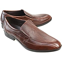 MM/ONE Mens Leather Slip On Dress Shoes Bicycle Toe Oxford Shoes Business Shoes Coffee 42 EU (US Men's 9-9.5 M)