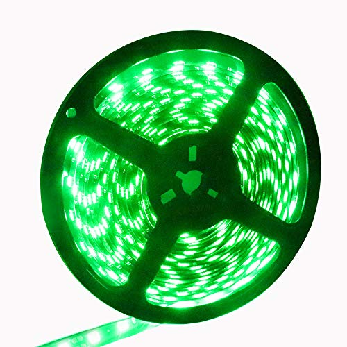 EverBright Super Brightness Green 5M(16.4Ft) 5050SMD 60LED/M 300LED Waterproof Flexible Light Strip PCB Black for Car Truck Neon Undercar Lighting Kits Mall Booth House Decoration Stage Music Lights (Bicycle Light Ribbon)