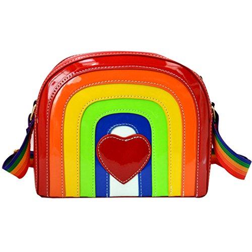 Buddy Women Girls Rainbow PU Shoulder Bag Fashion Mini Cross Body Bag Cute Satchel Purse]()