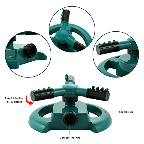 Degree Of The Ocean And Efficient N: ENROSE Lawn Sprinkler 3-Arm 360-Degree Rotation Water