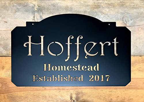 Metal Name Sign, Metal Est. Sign, Last Name Sign, Name Signs, Est. date Signs, Homestead - Homestead Door