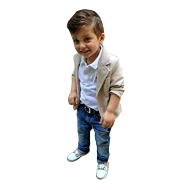 f1cca651 Evelin LEE 3 Pieces Baby Boys Shirt Jacket Jeans Set Toddler Pants Clothing