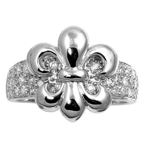 Cubic Zirconia Pave Fleur De Lis Center Ring 925 Sterling Silver Size (Fleur De Lis Pave Ring)