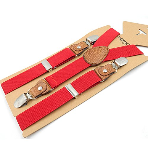 (Kids and Baby Boys Girls Elastic Adjustable 1 inch Suspenders Multi Color (Red))