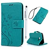 A3 2017 Case MAXFE.CO PU Leather Flip Wallet Case Cover with Wrist Strap Blue Butterfly & Vines Embossed Bumper Case for Samsung Galaxy A3 2017 & One Touch Pen - Blu