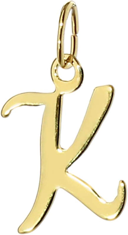 NKlaus 7815 Pendentif en forme de K en or jaune 333 avec inscription Alphabet Dor/é