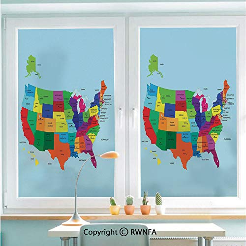 Window Glass Sticker Door Mural Educational Map of America USA with States and Capitals City California Texas New York Printed Art Decorative Static Cling Privacy No Glue Film Home Decorative 22.8x35