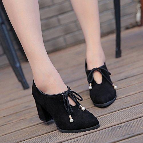 Solo Zapatos de Tacones Altos de la Manera de Las Mujeres Todo el Fósforo Cómodo Grueso con un Lazo Acentuado con Todos Los Zapatos Del Partido , jengibre , EUR 35.5
