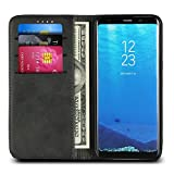 """Samsung Galaxy S8 Phone Case, PU Leather Pouch Folio Flip Purse Bag Wallet Case with Credit Card Holder Magnetic Closure Protective Cell Phone Cover for Samsung Galaxy S8 (2017) 5.6"""" - Black"""