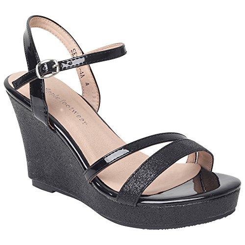 Womens Wedges Black Platform Buckle Patent Wedge Shoes Evening Gladiator Fashion Online Fastening High Summer Open Sandal Girls Shop Ladies Strappy Espadrille Sandals Ankle Toe wx6gWSBq