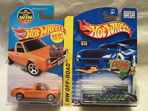 Hot Wheels 2003-014 Steel Flame & HW Off-Road Volkswagen Caddy Factory Sealed Sticker Die Cast 1/64 Scale 2 Car Bundle! (Hot Cars Stickers Wheels)