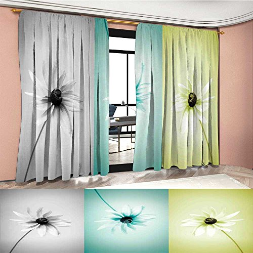 (Abstract Patterned Drape For Glass Door Daisy Flowers in Different Featured Framed Saturated Artsy Image Waterproof Window Curtain Turquoise Grey Avocado Green)
