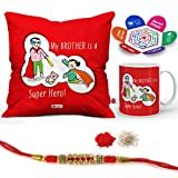 Indigifts Rakhi Gifts for Brother Super Hero is Bro Quote Printed Gift Set of Cus 12''x12'' with Filler, Mug 330 ml, Rakhi for Brother, Roli, Chawal & Greeting Card - Rakshabandhan Gifts for Brother