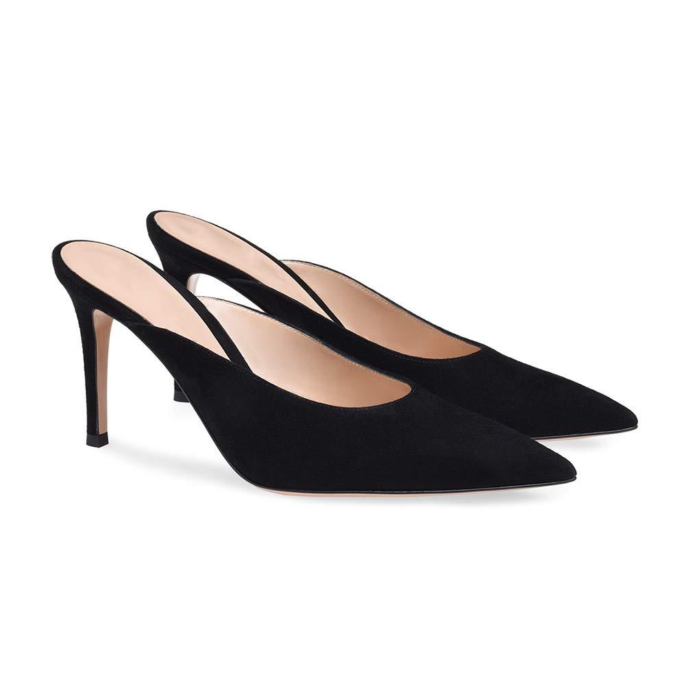 WHL.LL De las mujeres Ante Tacón alto delgado Zapatos Zapatos Zapatos solos Puntiagudo Dedo del pie cerrado Slingback Sandalias Acogedor Zapatos solos (Altura del tacón: 10cm) c72489